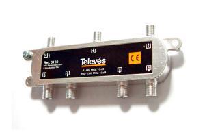 Repartidor 5 direcciones 10_12 dB + PAU conectores F